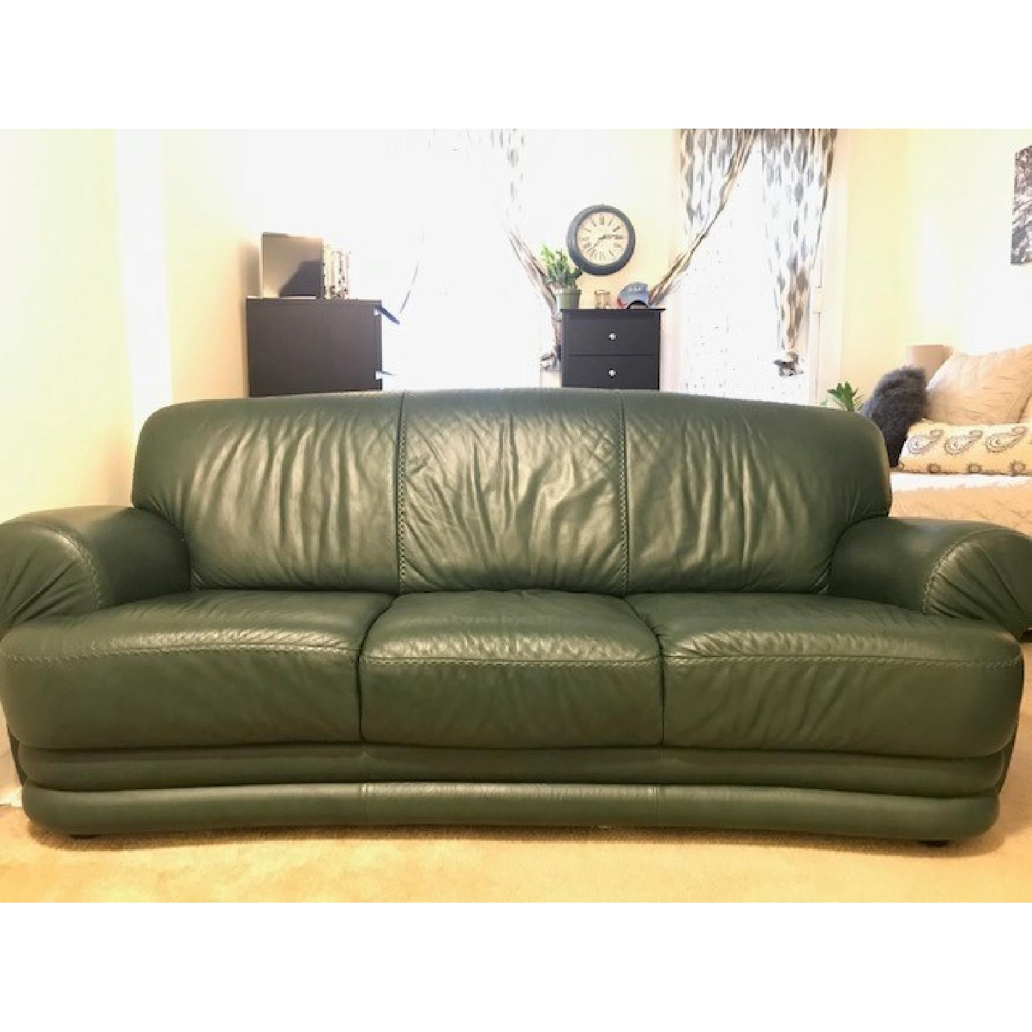Green Leather 3 Seater Sofa - image-1