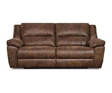 Simmons Upholstery Phoenix Mocha Double Recliner Sofa