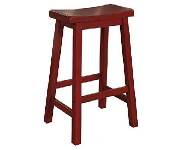 Winsome Wood Satori Saddle Seat Bar Stools in Crimson