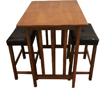 Dark Brown Bar Table w/ 2 Stools