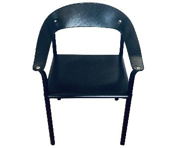 Cy Mann Post-Modern Black Leather Dining Chairs