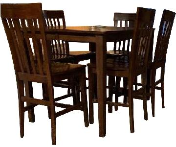 Expandable Wood Dining Table w/ 6 Chairs