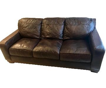 Ashley Chocolate Leather 3-Seater Sofa