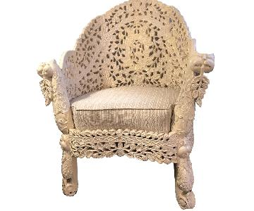 Early 20th Century Vintage Anglo Indian Carved Chair