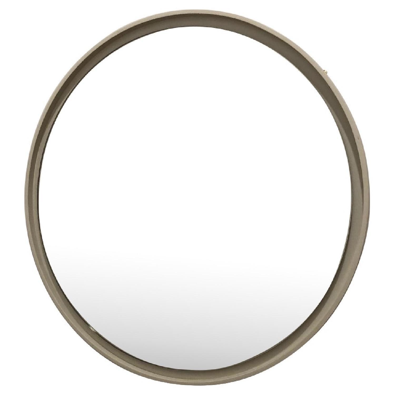 West Elm White Round Floating Mirror
