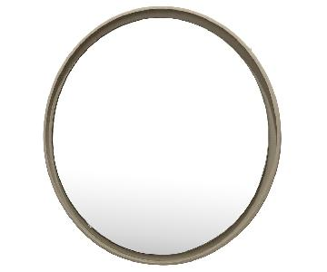 West Elm White Round Floating Mirror