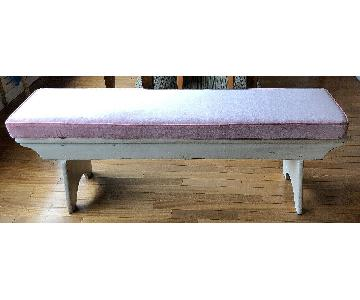 Decorative Painted Wood Bench w/ Cushion
