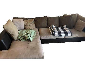 Faux Leather & Suede 2-Piece Sectional Sofa