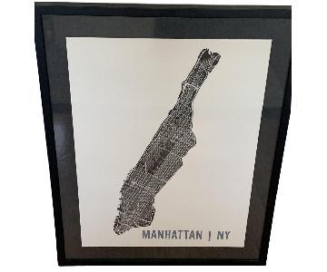 Custom Black Frame Manhattan Line Map Print