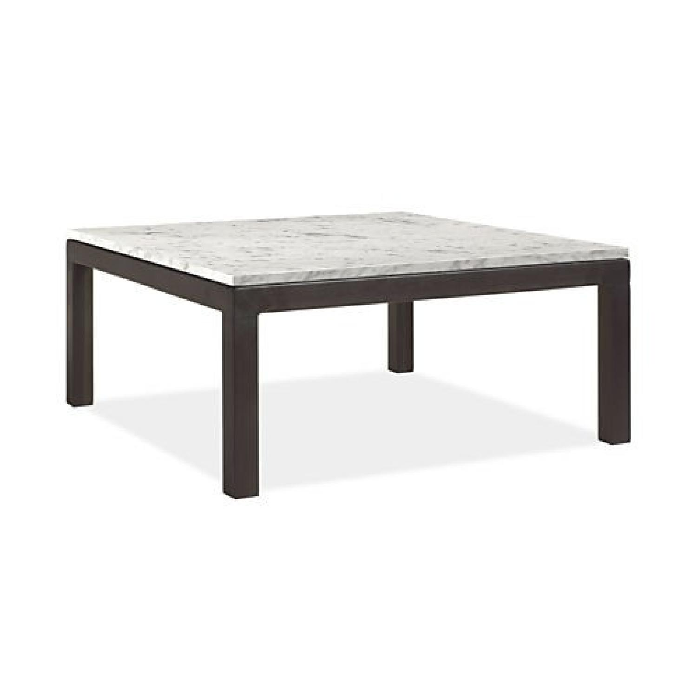 Room & Board Coffee Table in Venatino Marble & Natural Steel