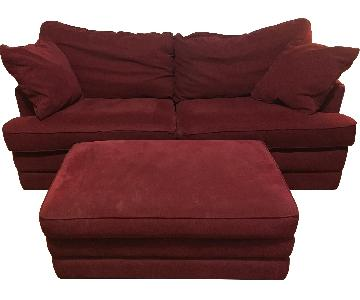 La-Z Boy Red Sofa & Ottoman
