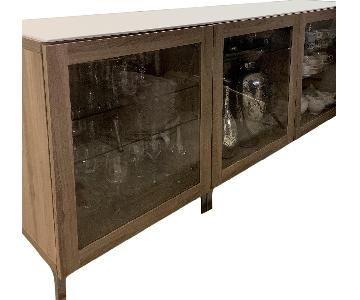 Ikea Credenza/Display Cabinet w/ Glass Doors & Marble Top