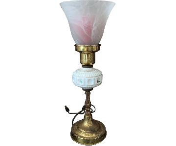 Vintage Frosted Glass & Metal Table Lamp