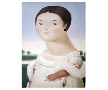 Fernando Botero- Mlle Riviere -1984 Poster Mounted On Canvas