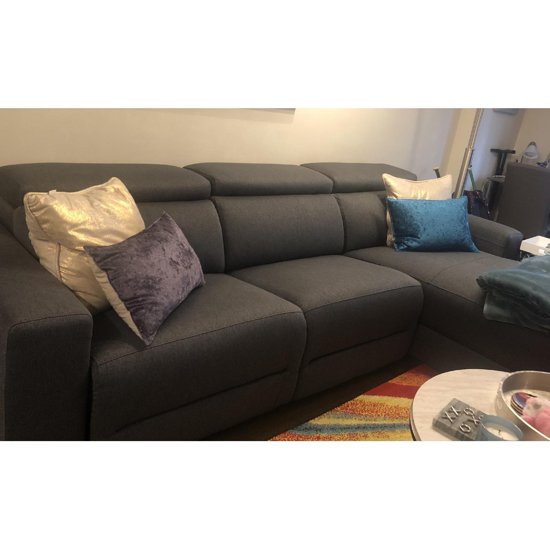 Macy S Grey Fabric Reclining Sectional Sofa W Chaise Aptdeco