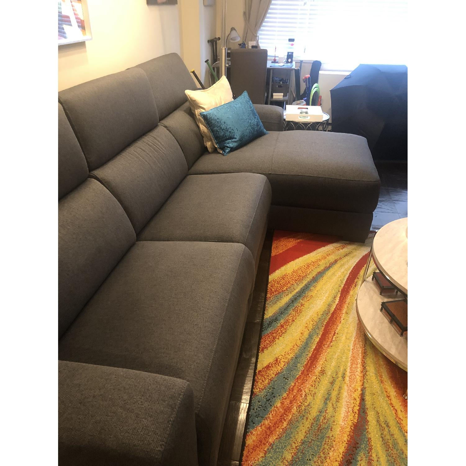 Magnificent Macys Grey Fabric Reclining Sectional Sofa W Chaise Aptdeco Creativecarmelina Interior Chair Design Creativecarmelinacom