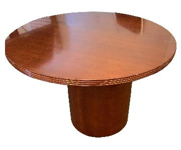 Round Cherry Finish Wood Table w/ Drum Base