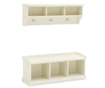 Pottery Barn Samantha Bench & Shelf w/ Cushion & Bins