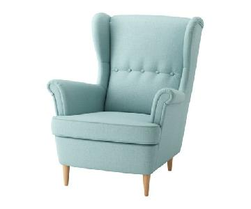 Ikea Strandom Wing Chair in Skiftebo Turquoise Blue