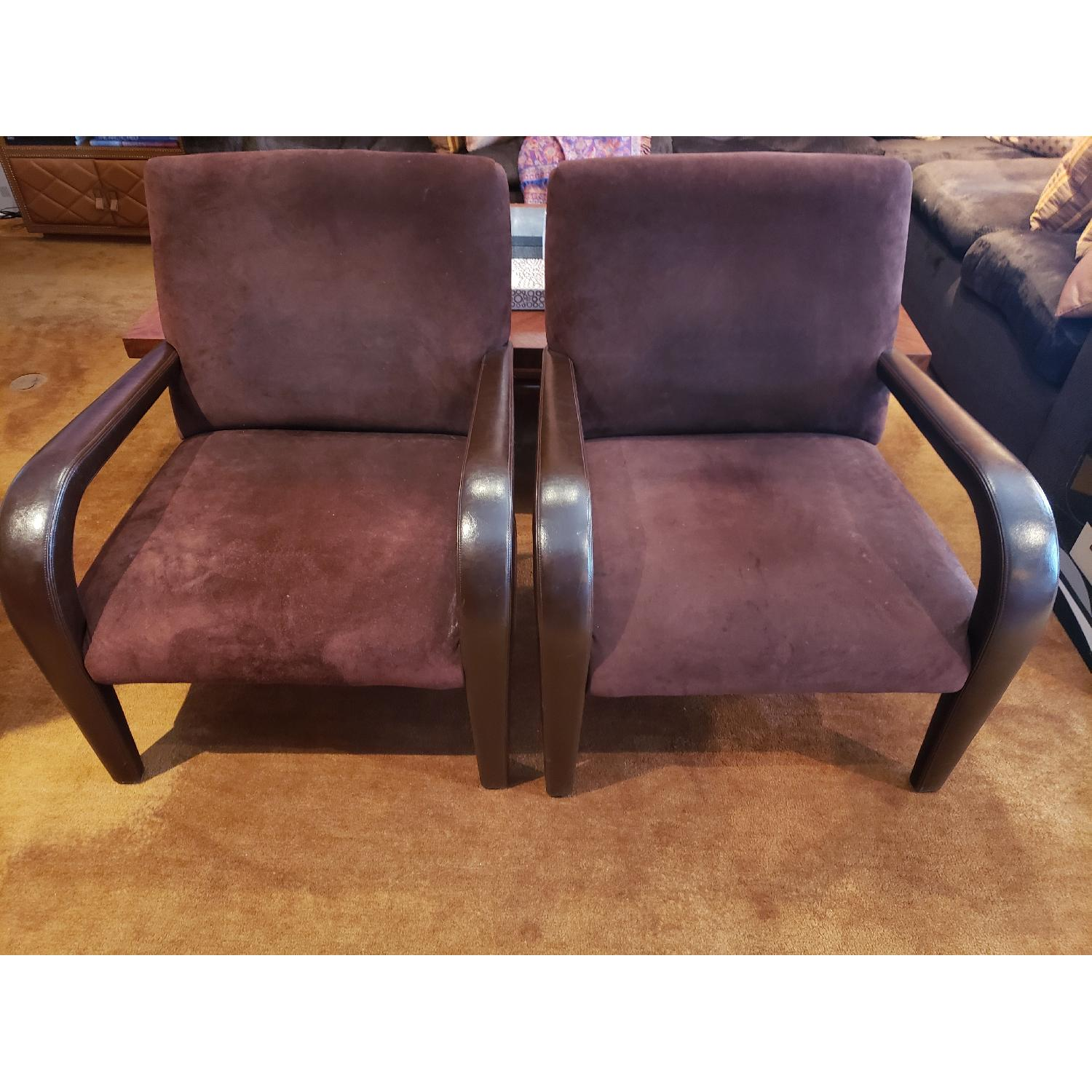 Brown Suede & Leather Arm Chairs-0