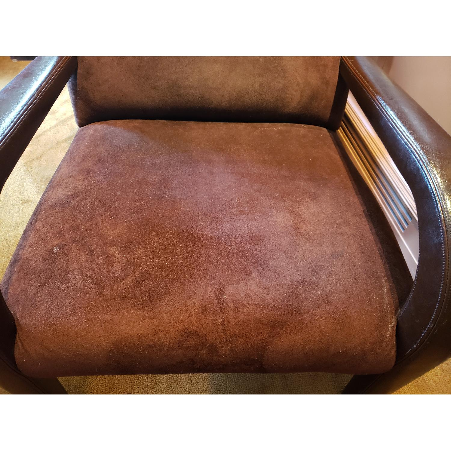 Brown Suede & Leather Arm Chairs-1