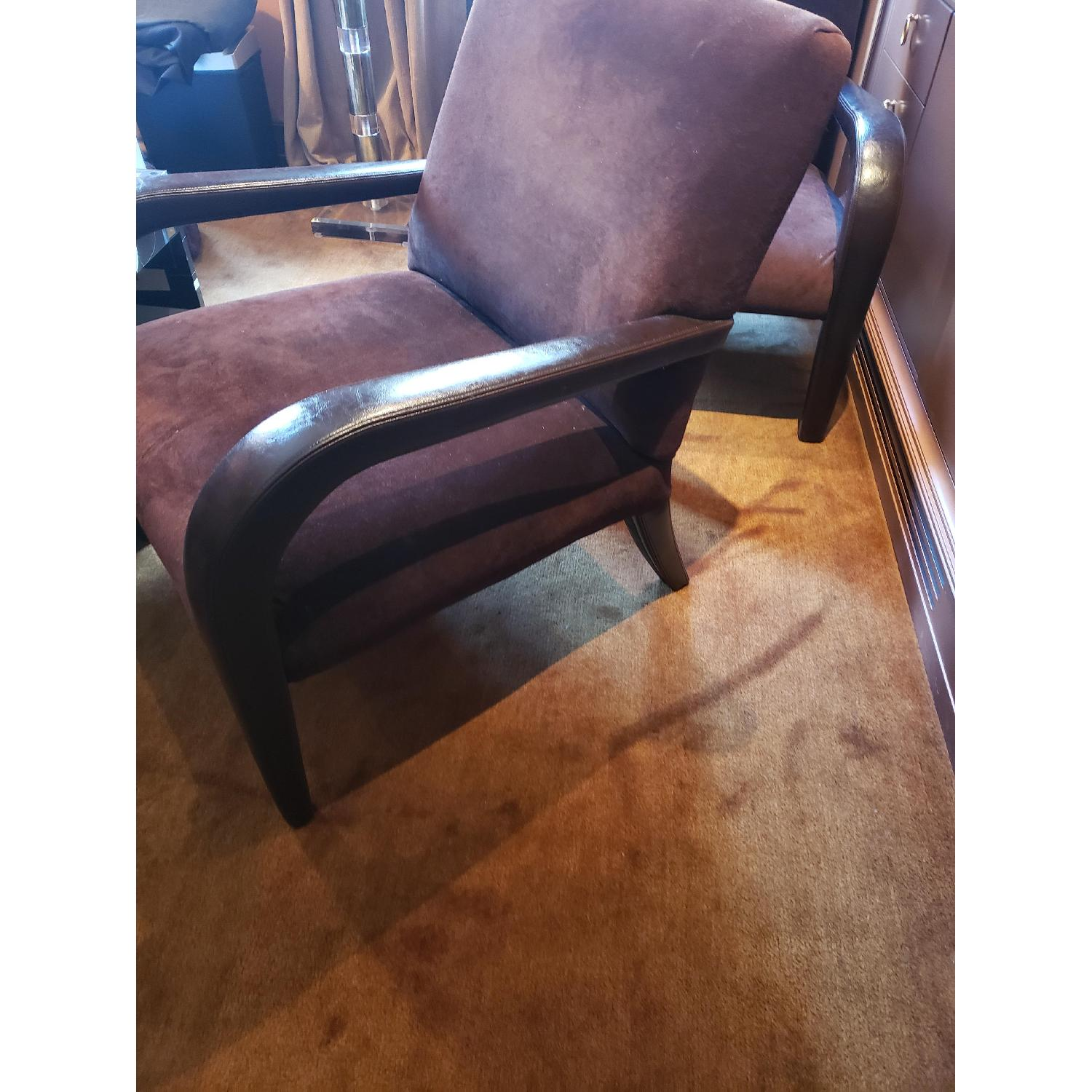 Brown Suede & Leather Arm Chairs-2