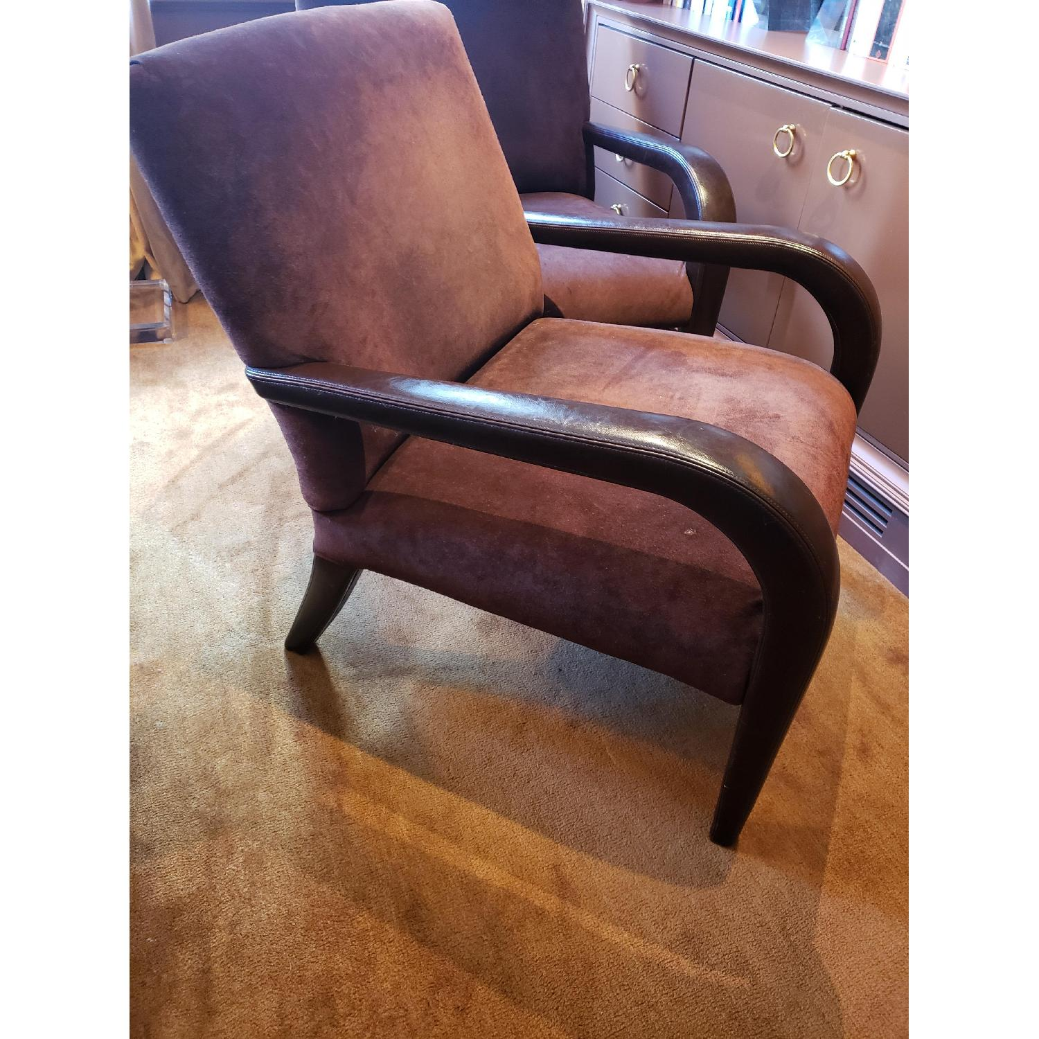 Brown Suede & Leather Arm Chairs-3