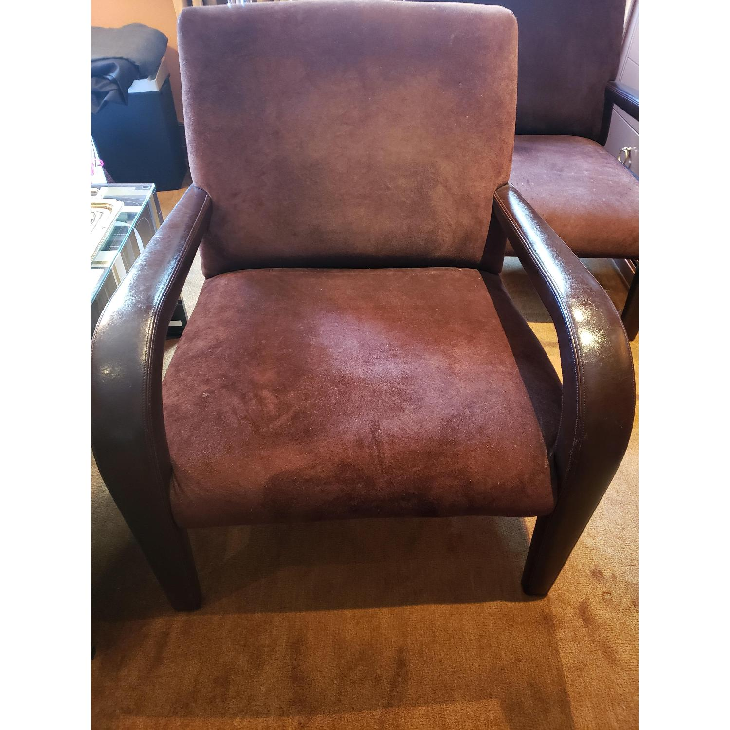 Brown Suede & Leather Arm Chairs-4