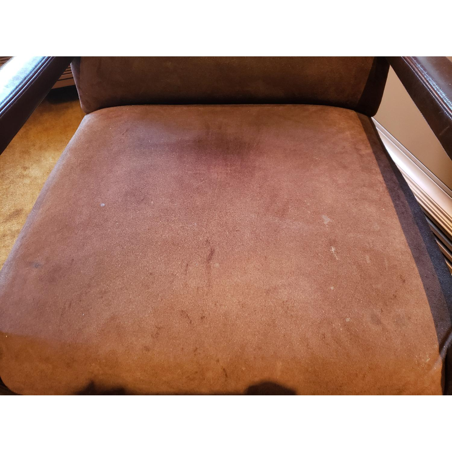 Brown Suede & Leather Arm Chairs-5