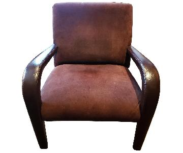 Brown Suede & Leather Arm Chairs