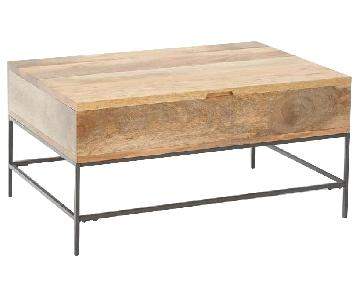 West Elm Industrial Storage Pop-Up Coffee Table in Raw Mango