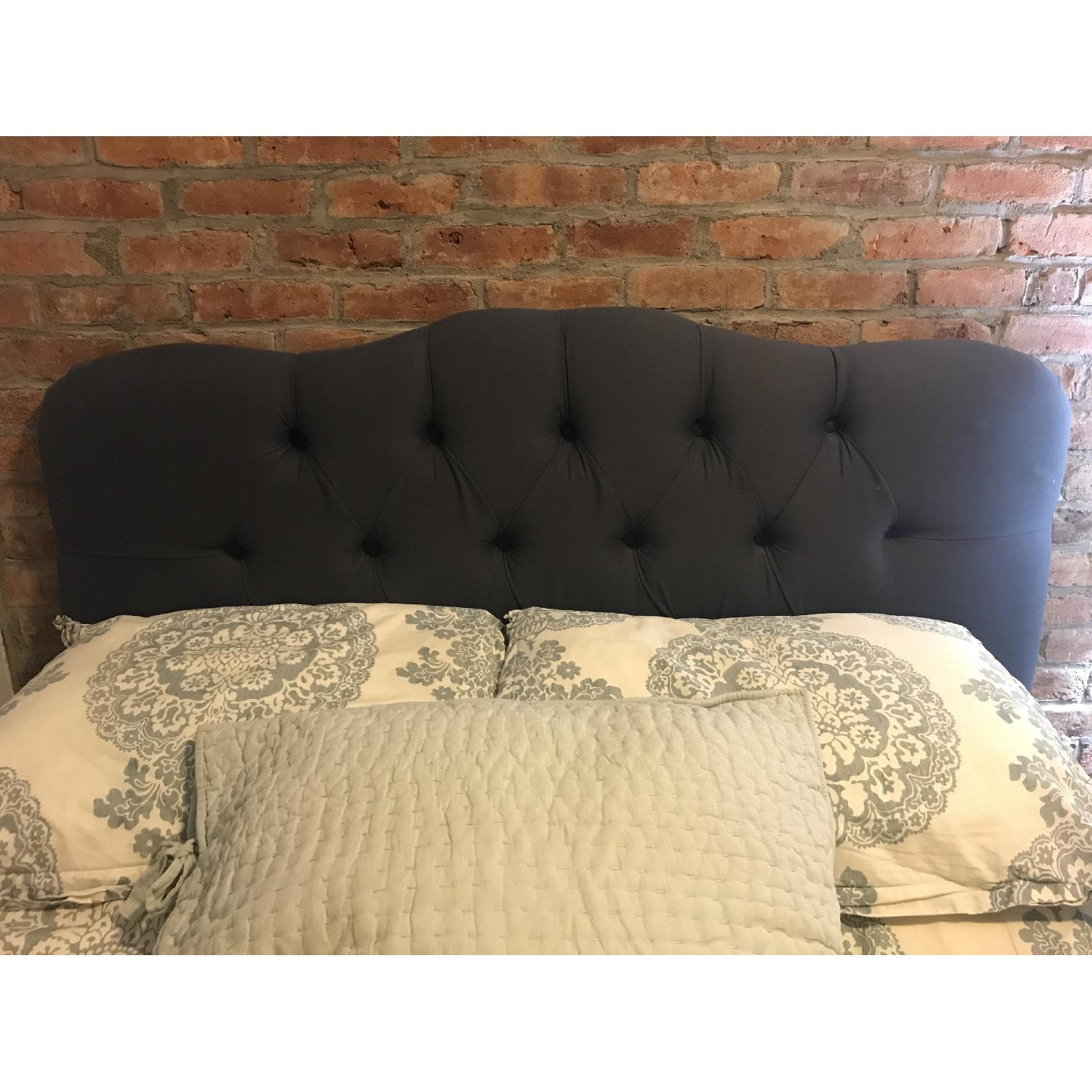 Skyline Carnaby Tufted Upholstered Headboard in Twill Navy