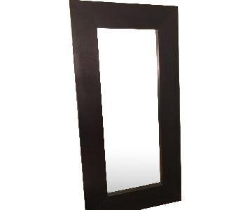Contemporary Standing Floor Mirror in Black Finish Frame