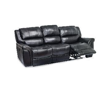 Black Leather Power Reclining Sofa
