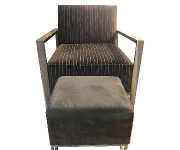 Metal Frame Accent Chair & Ottoman