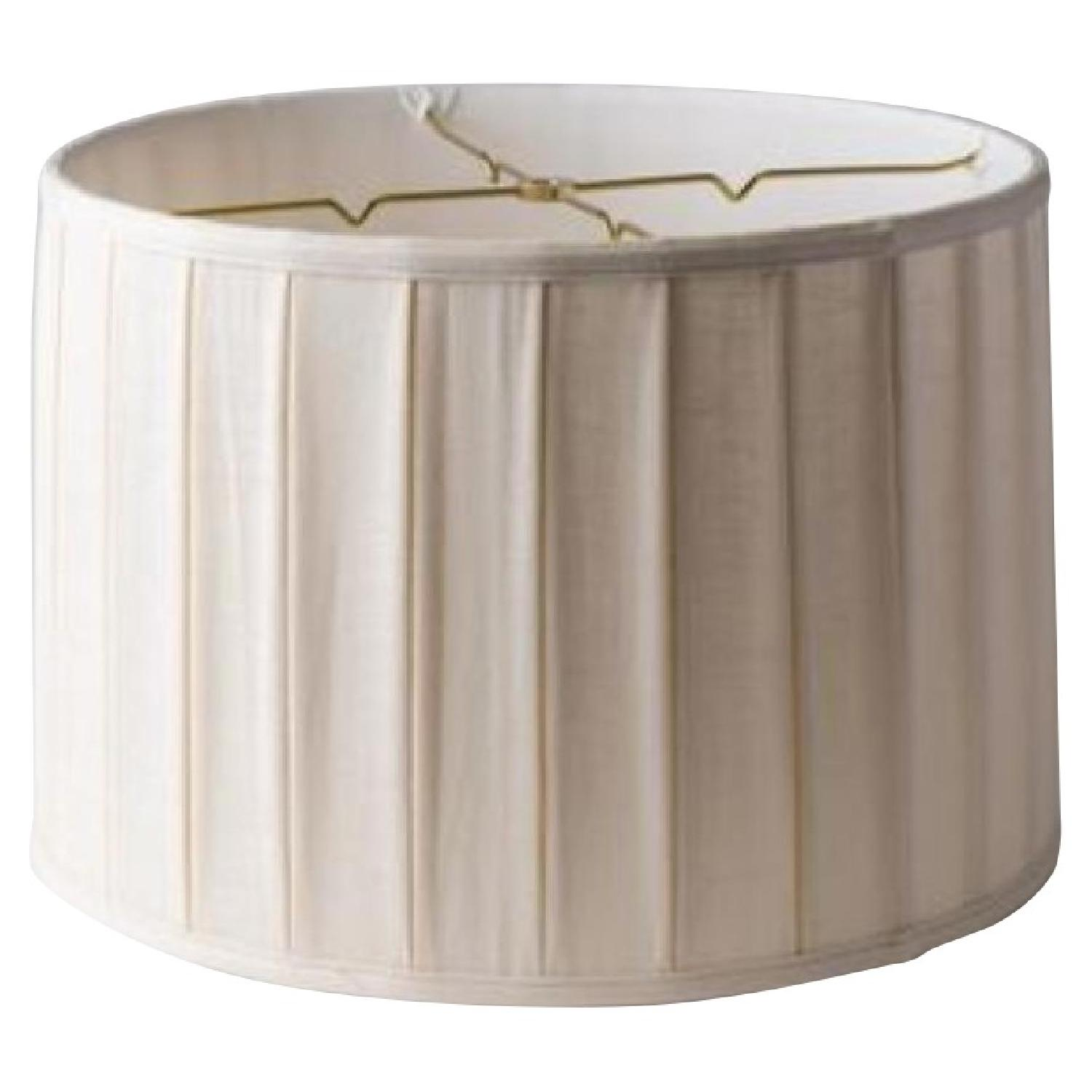 Pleated Linen Drum Lampshade - image-0