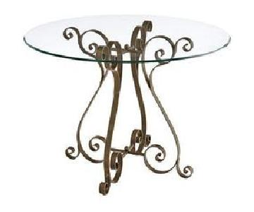 Pier 1 Wrought Iron Table Base w/ Round Tempered Glass Top