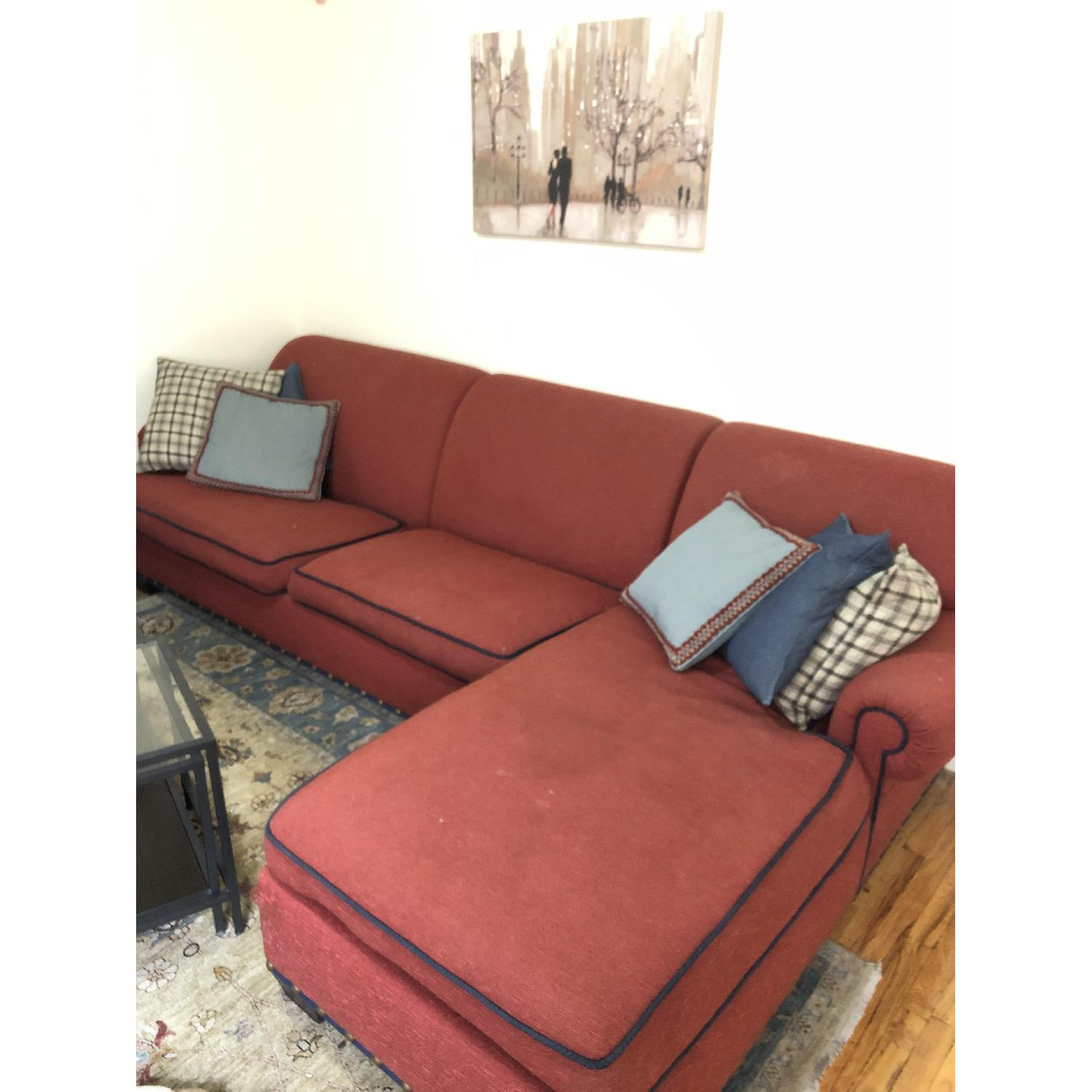 Red Fabric 2-Piece Sectional Sofa-0