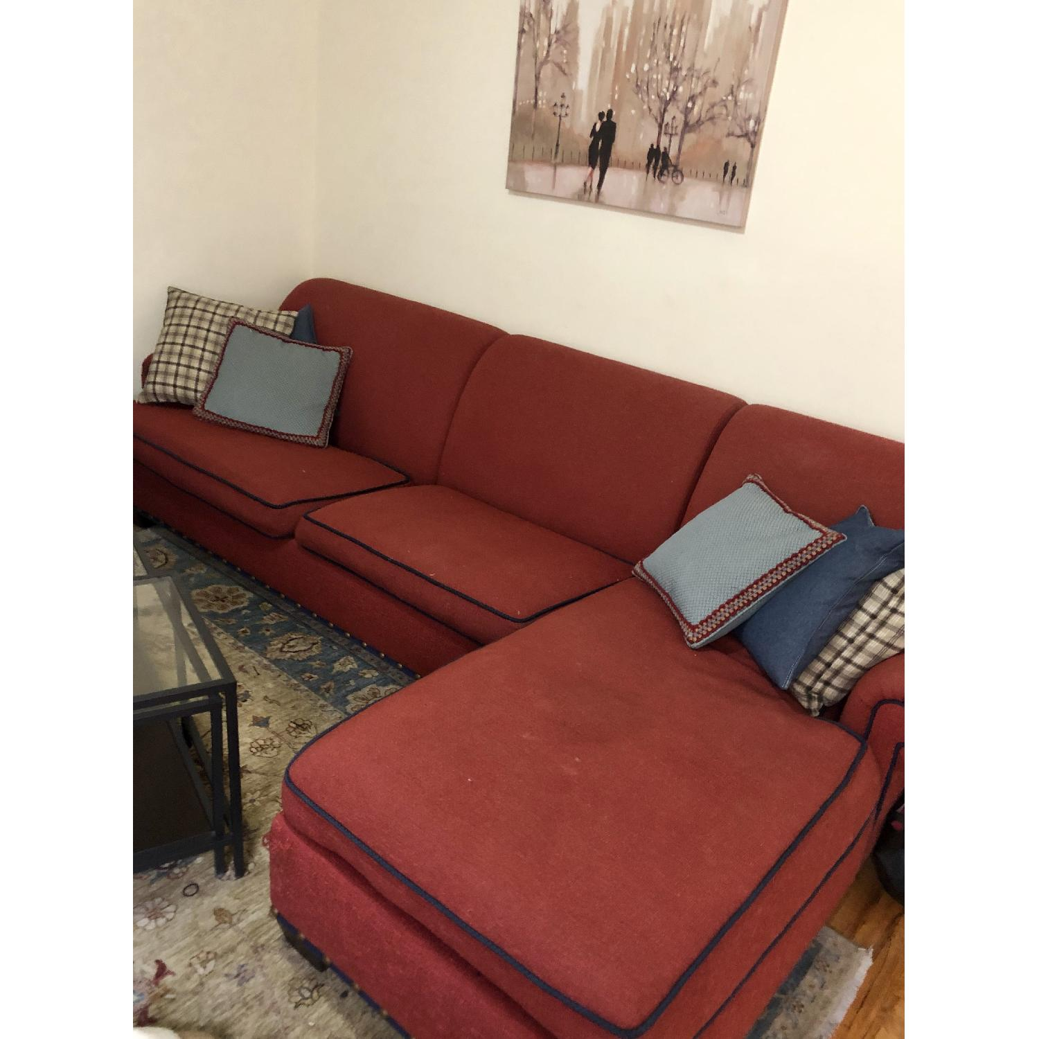 Red Fabric 2-Piece Sectional Sofa-1