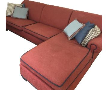 Red Fabric 2-Piece Sectional Sofa