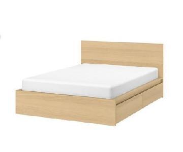Ikea Malm King High Bed Frame w/ 2 Storage Boxes
