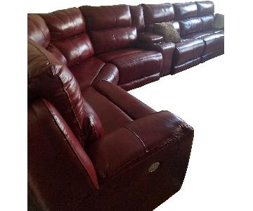 New Pacific Direct 7-Piece Red Leather Sectional Sofa
