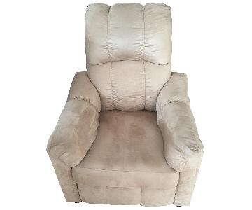 Taupe/Light Brown Suede Recliner