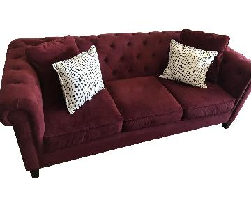 Tufted Red Wine Suede 3-Seater Sofa