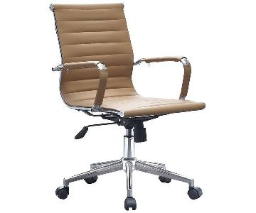 Laura Davidson Soho Tan Leather Ribbed Management Chair