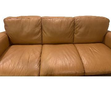 Tan Leather Sleeper Sofa