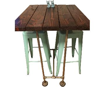 Bespoke Rustic-Industrial Artist-Made Bar Table w/ 2 Stools