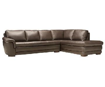 Raymour & Flanigan 2 Piece Leather Sectional Sofa