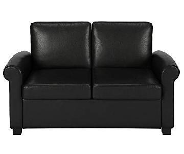 DHP Furniture Logan Faux Leather Twin Sleeper Sofa