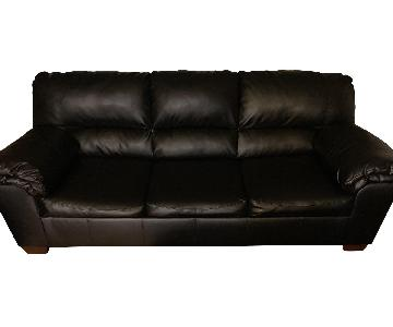 Black Faux Leather Sleeper Sofa